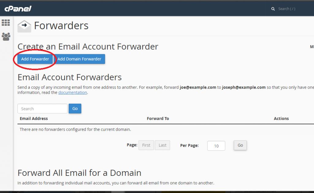 Forwarding Email from Cpanel to External Email Address | Web